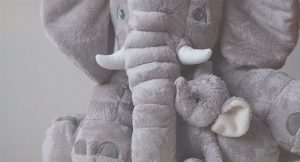El niño quiere un peluche de elefante